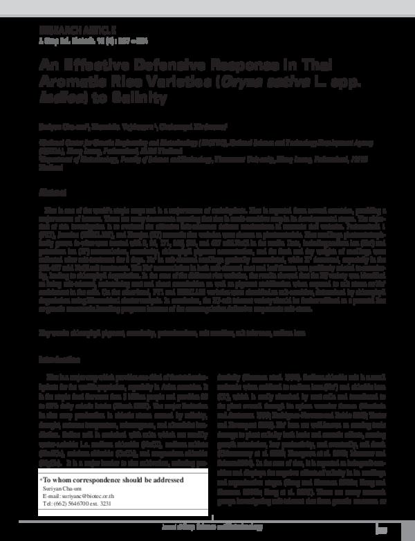 PDF) An Effective Defensive Response in Thai Aromatic Rice Varieties