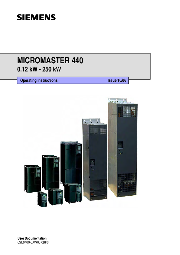 PDF) MICROMASTER 440 0 12 kW -250 kW Operating Instructions