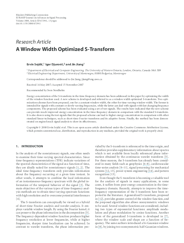 PDF) A Window Width Optimized S-Transform | Igor Djurovic