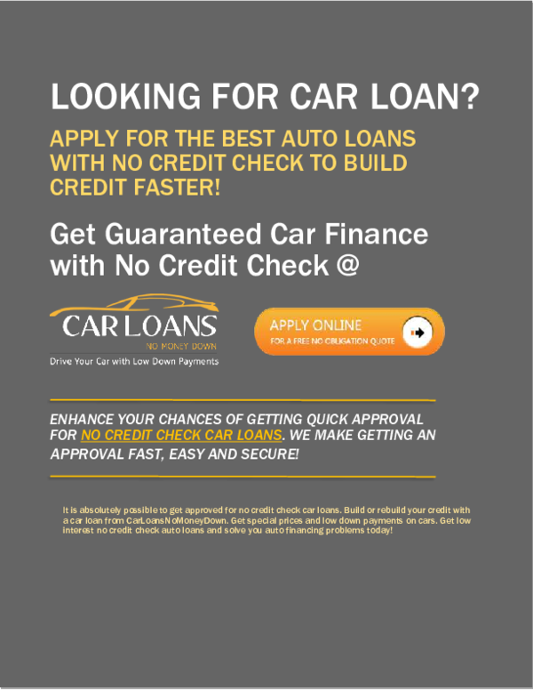 Buy A Car With Guaranteed No Credit Check Car Finance With