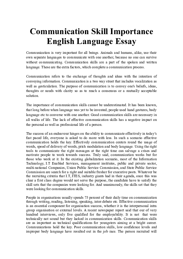 communication skill importance english language essay  tania  docx