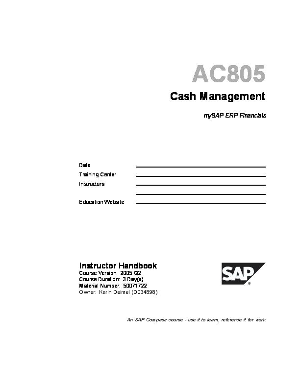 PDF) SAP- Cash Management   Anil Kangotra - Academia edu