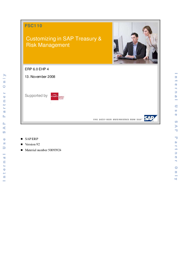 PDF) Customizing in SAP Treasury und Risk Management | Anil Kangotra