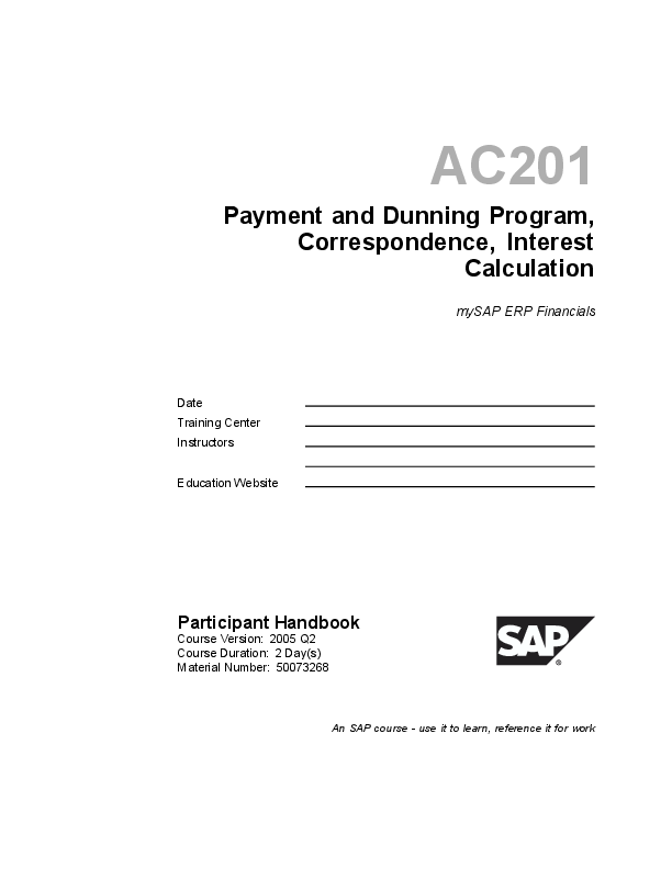 PDF) SAP FICO- Payment and Dunning Program, Correspondence