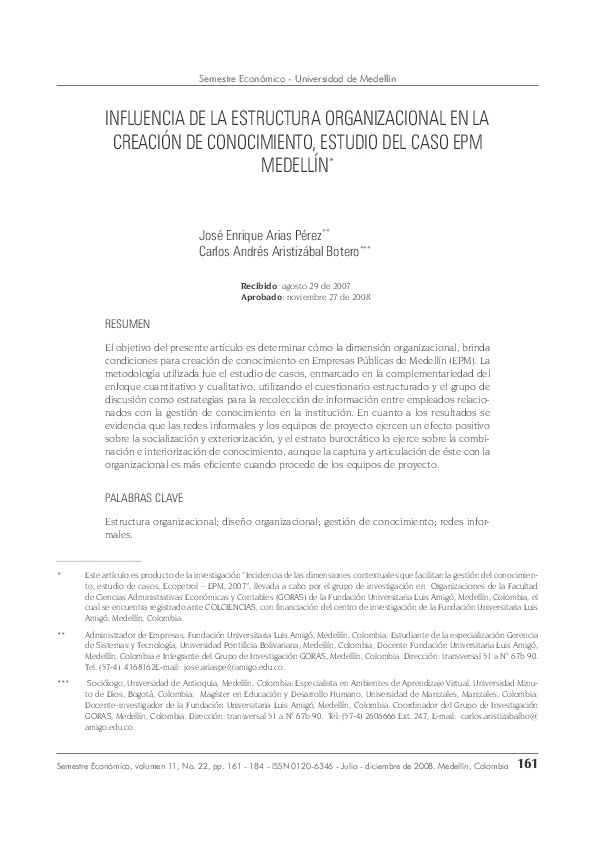 Pdf Influencia De La Estructura Organizacional En La