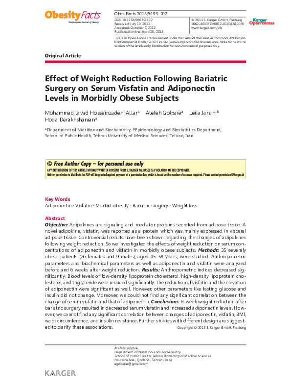 PDF) Effect of Weight Reduction Following Bariatric Surgery on Serum
