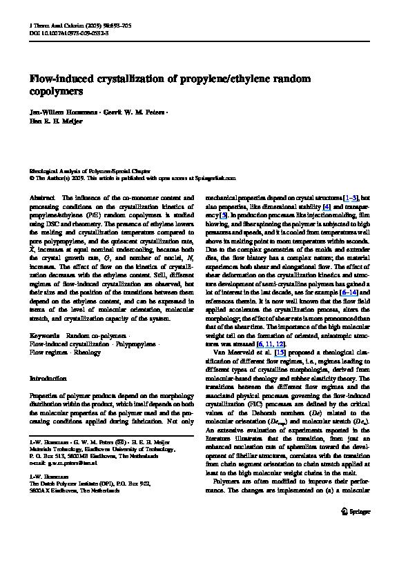 PDF) Flow-induced crystallization of propylene/ethylene
