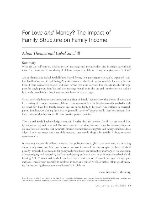 PDF) For Love and Money? The Impact of Family Structure on