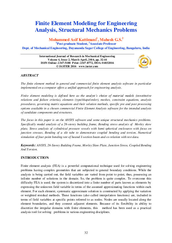 PDF) Finite Element Modeling for Engineering Analysis