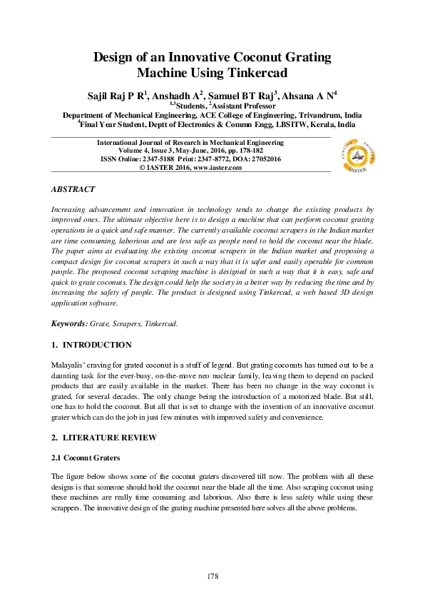 PDF) Design of an Innovative Coconut Grating Machine Using