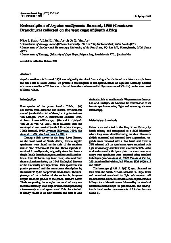 PDF) Redescription of Argulus multipocula Barnard, 1955 (Crustacea
