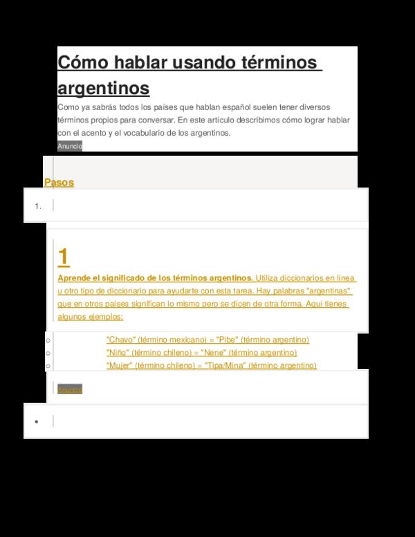 DOC) Cómo hablar usando términos argentinos | Cesar Medina
