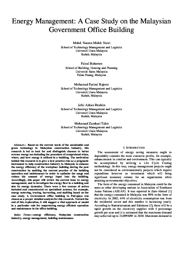 PDF) Energy Management: A Case Study on the Malaysian Government