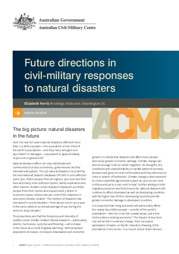 PDF) Future directions in civil-military responses to natural