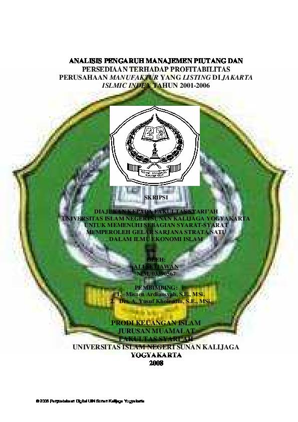 Pdf Prodi Keuangan Islam Jurusan Muamalat Fakultas Syari Ah