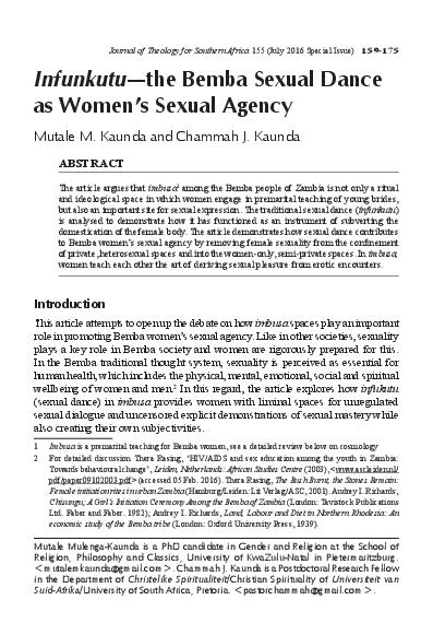 PDF) Infunkutu—the Bemba Sexual Dance as Women's Sexual
