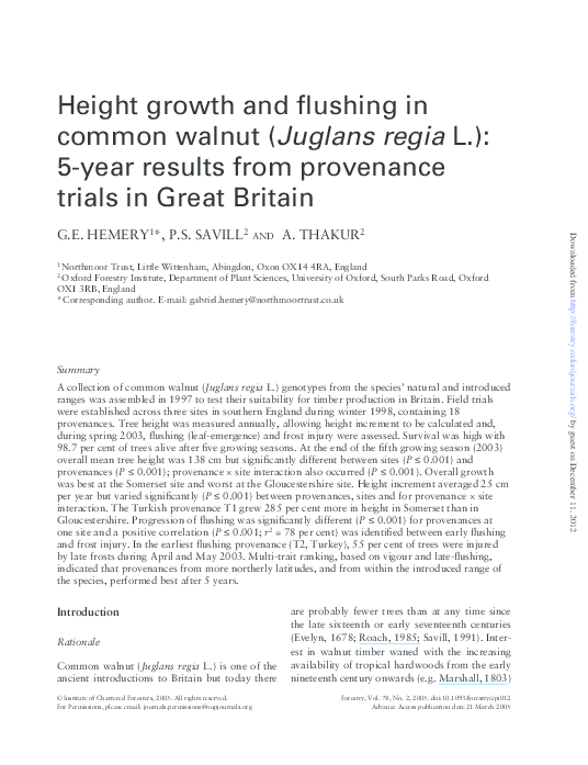 PDF) Height growth and flushing in common walnut (Juglans