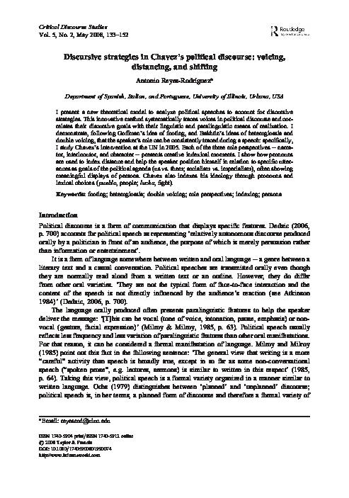 16e283b0223c Discursive Strategies in Chávez s Political Discourse  Voicing ...