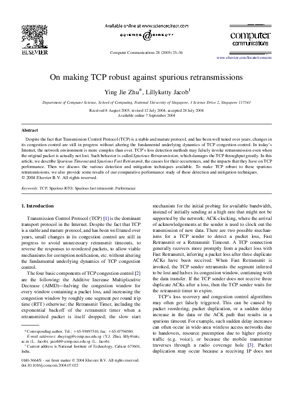 PDF) On making TCP robust against spurious retransmissions