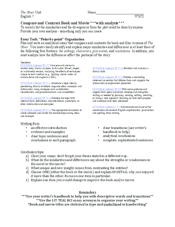 Good High School Essay Topics Pdf How To Write A Good English Essay also Cause And Effect Essay Thesis Compare And Contrast Book And Movie With Analysis  Karina Aw  Example Of Essay Writing In English