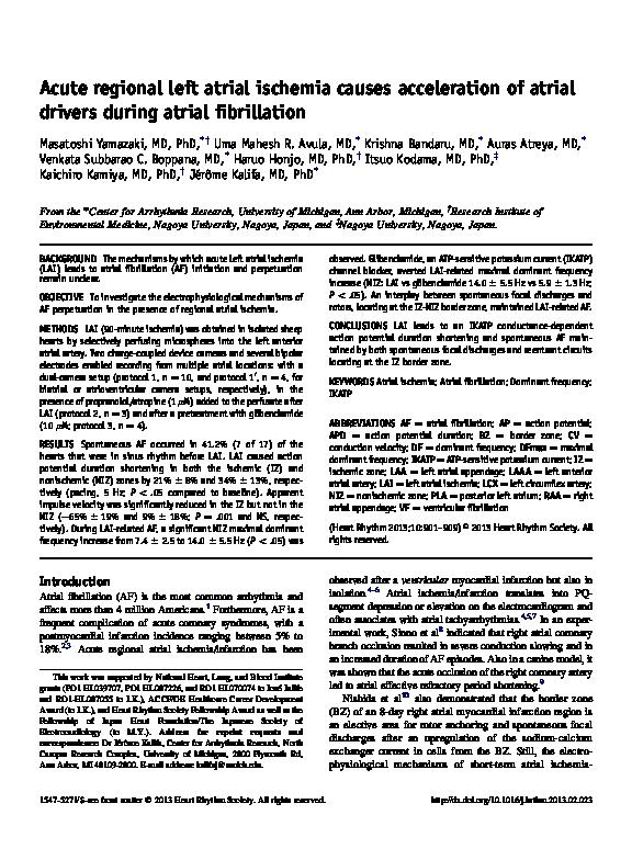 PDF) Acute regional left atrial ischemia causes acceleration