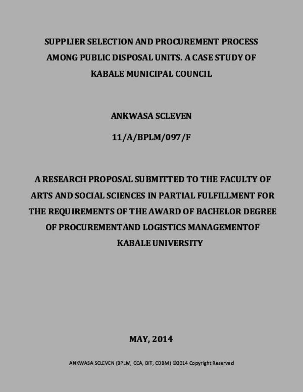 PDF) SUPPLIER SELECTION AND PROCUREMENT PROCESS AMONG PUBLIC