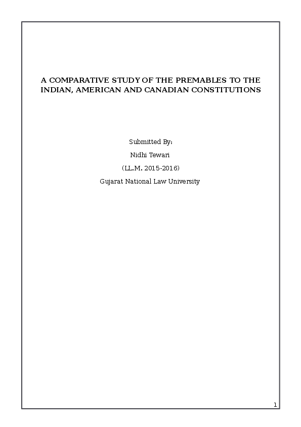 (DOC) A Comparative Study of the Preambles to the ...