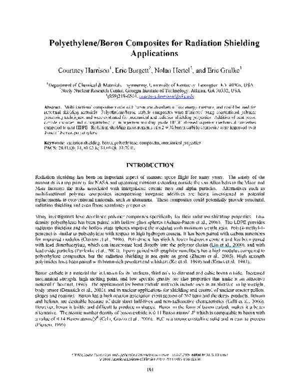 PDF) Polyethylene∕ Boron Composites for Radiation Shielding