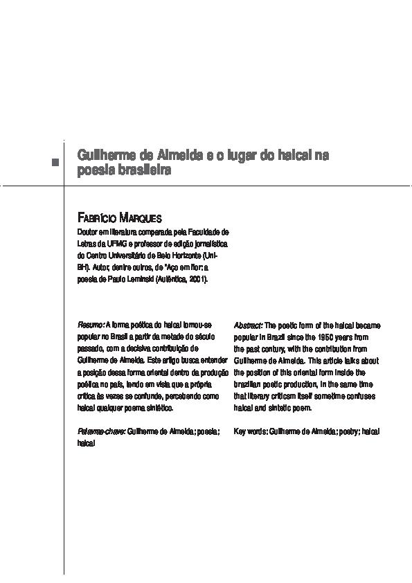 Pdf Guilherme De Almeida E O Lugar Do Haicai Na Poesia
