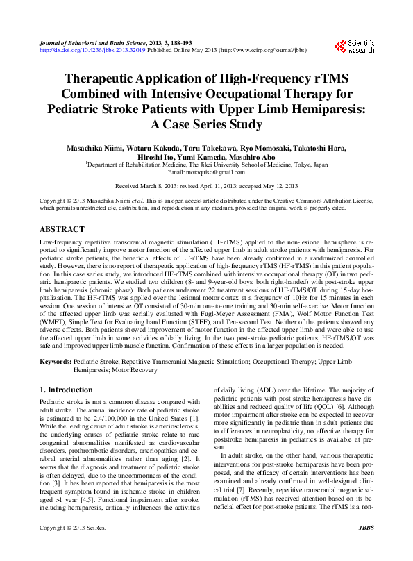 PDF) Therapeutic Application of High-Frequency rTMS Combined with