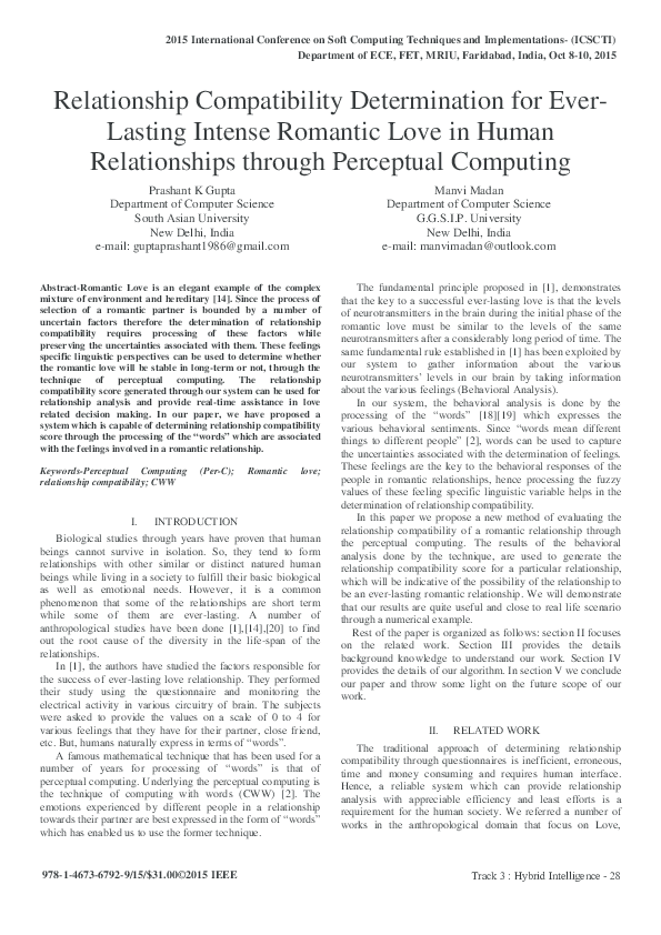 PDF) Relationship Compatibility Determination for Ever- Lasting