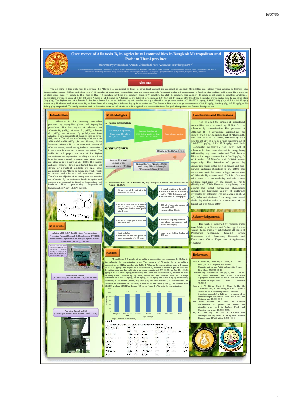 PDF) Occurrence of Aflatoxin B1 in agricultural commodities