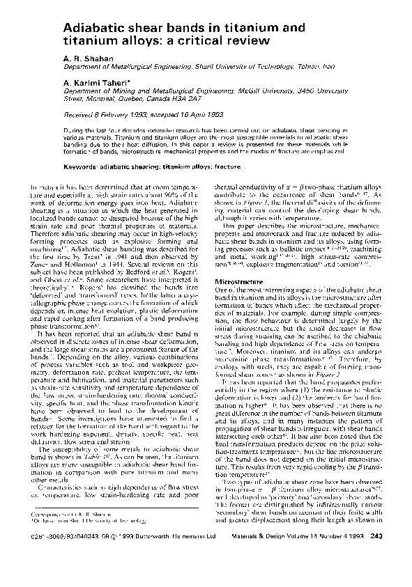 PDF) Adiabatic shear bands in titanium and titanium alloys