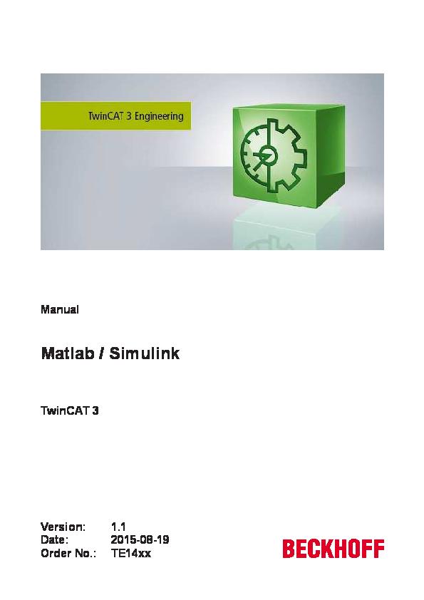PDF) TwinCAT 3 Matlab Simulink EN | Ezio Benazzato - Academia edu