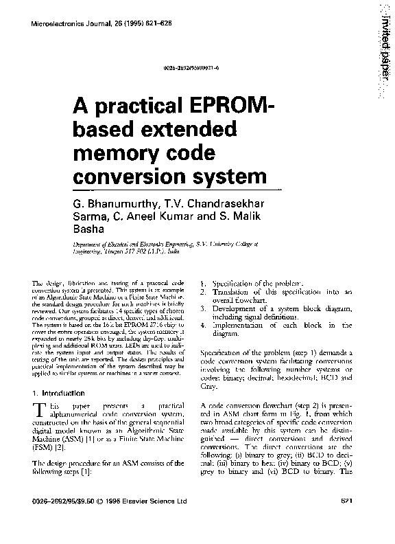 PDF) A practical EPROM-based extended memory code conversion