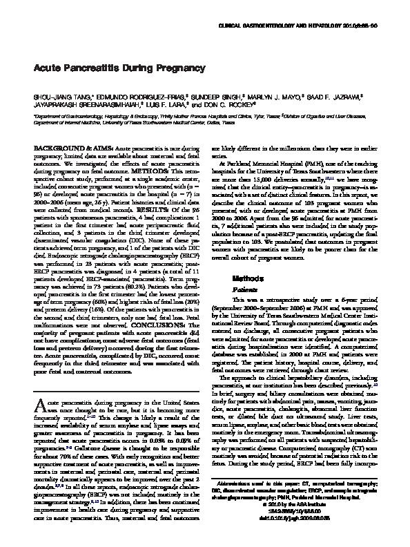 PDF) Acute Pancreatitis During Pregnancy   Luis Lara