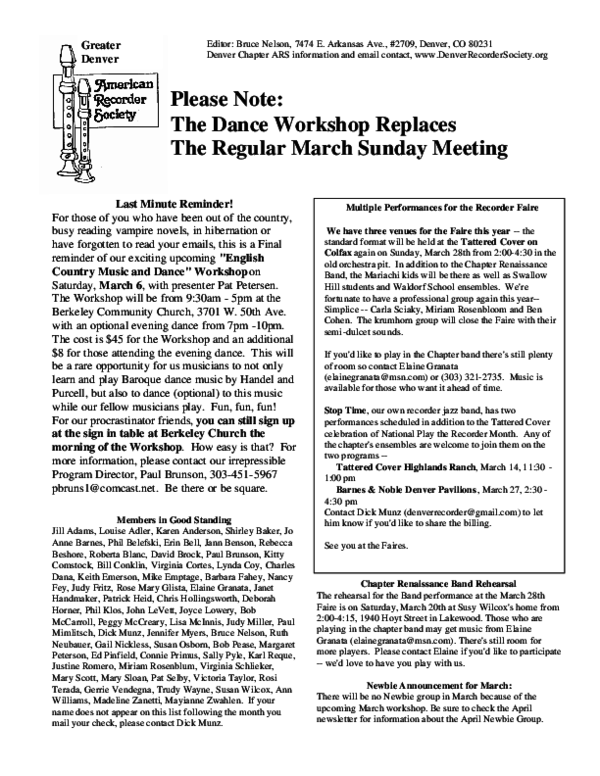 PDF) Please Note: The Dance Workshop Replaces The Regular