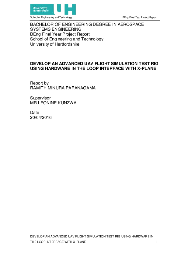 PDF) DEVELOP AN ADVANCED UAV FLIGHT SIMULATION TEST RIG USING