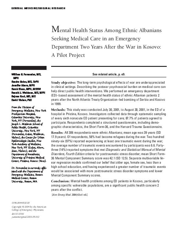 PDF) Mental health status among ethnic albanians seeking medical