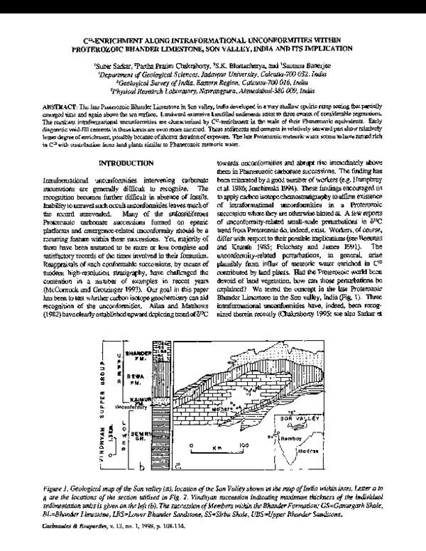 PDF) C 12 -enrichment along intraformational unconformities