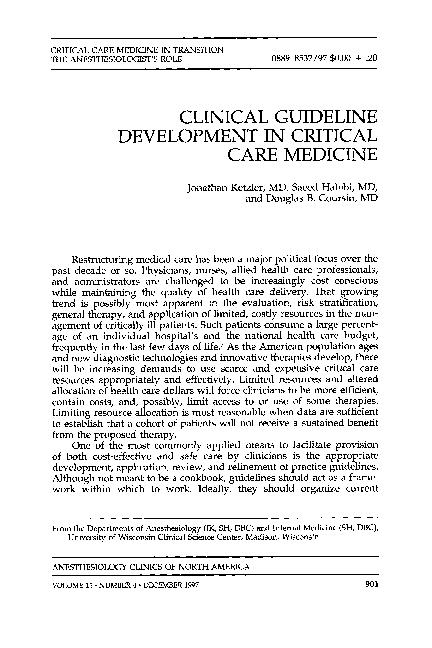 PDF) CLINICAL GUIDELINE DEVELOPMENT IN CRITICAL CARE