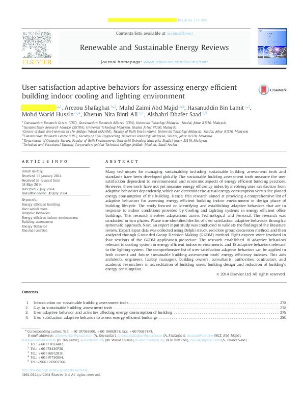 PDF) User satisfaction adaptive behaviors for assessing
