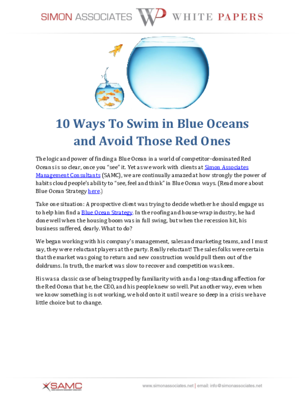 PDF) 0 Ways To Swim in Blue Oceans and Avoid Those Red Ones