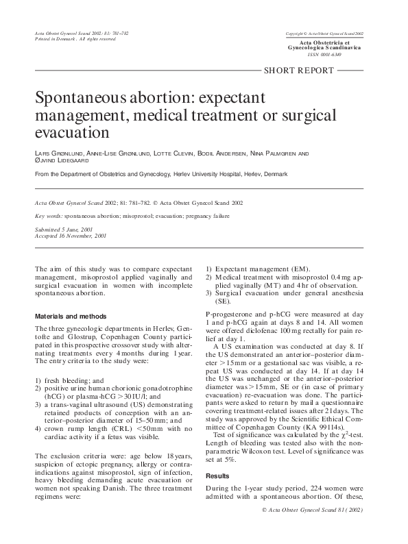 PDF) Spontaneous abortion: expectant management, medical