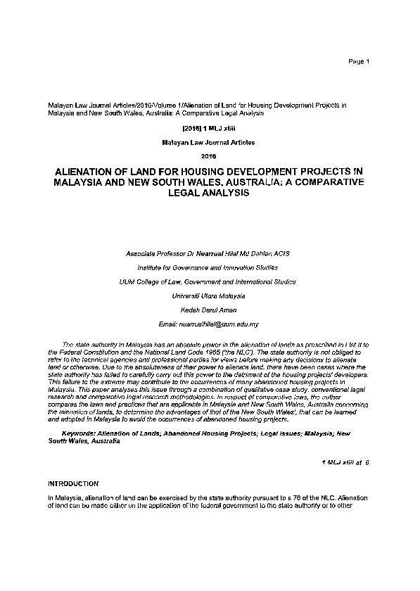 Pdf Alienation Of Land For Housing Development Projects In Malaysia And New South Wales Australia A Comparative Legal Analysis Nuarrual Hilal M D Dahlan Academia Edu