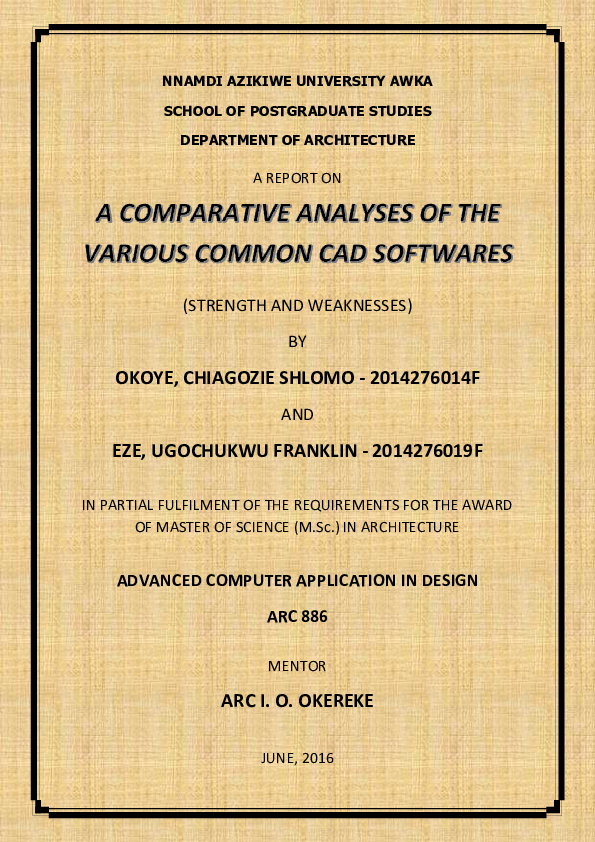 PDF) Comparative Analysis of the common CAD software | Okoye