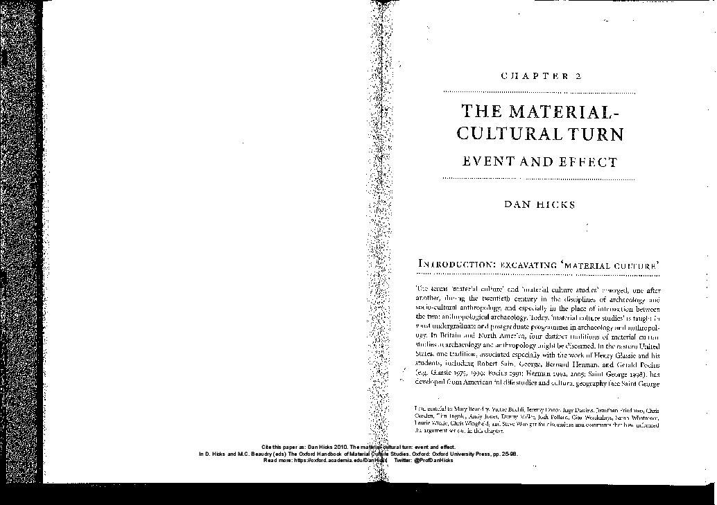 The Material Cultural Turn Event And Effect Dan Hicks Academia