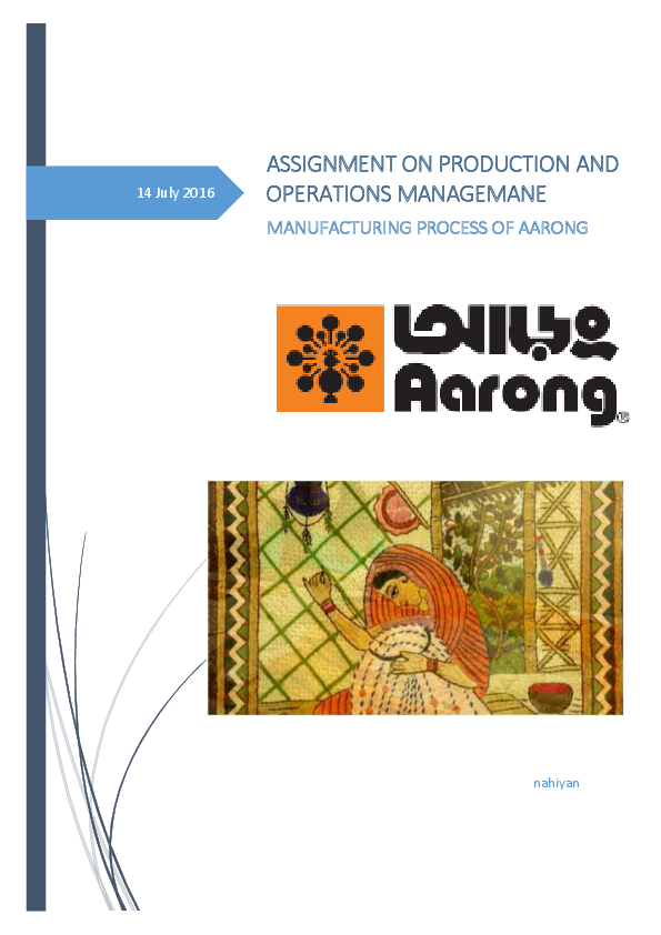 PDF) Manufacturing Process of AARONG Bangladesh | Zayed