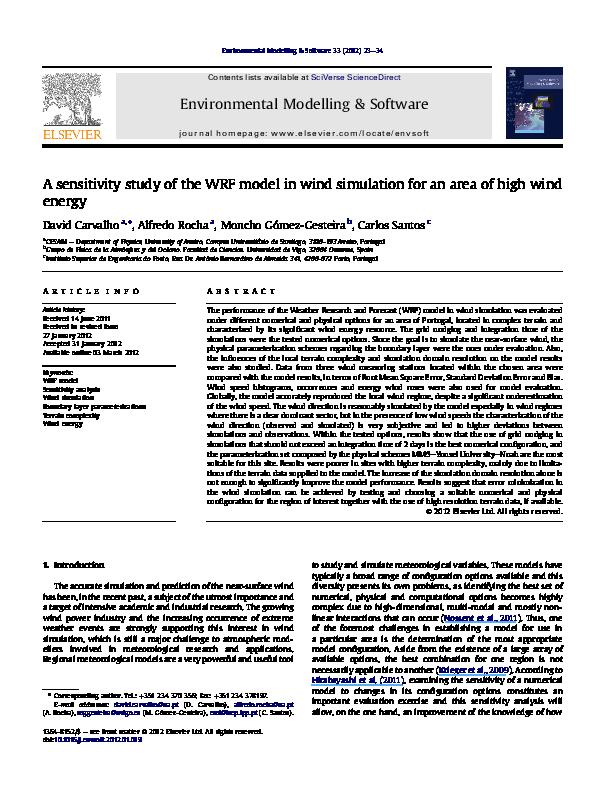 PDF) A sensitivity study of the WRF model in wind simulation