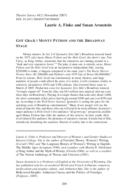 Pdf Got Grail Monty Python And The Broadway Stage Laurie Finke Academia Edu
